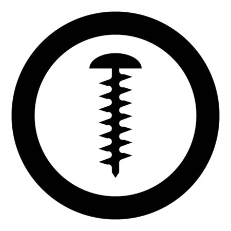 Round head screw Self-tapping Hardware Construction element icon in circle round black color vector illustration flat style simple image