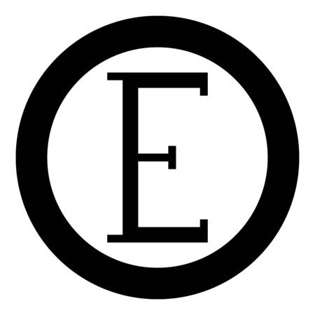 Epsilon greek symbol capital letter uppercase font icon in circle round black color vector illustration flat style simple image Ilustracja