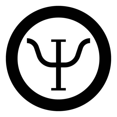 Psi greek symbol capital letter uppercase font icon in circle round black color vector illustration flat style simple image