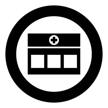 Hospital Clinic Medical building icon in circle round black color vector illustration flat style simple image Illustration