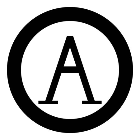 Alpha greek symbol capital letter uppercase font icon in circle round black color vector illustration flat style simple image