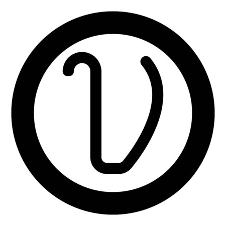 Upsilon greek symbol small letter lowercase font icon in circle round black color vector illustration flat style simple image