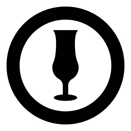 Cocktail glass icon in circle round black color vector illustration flat style simple image Ilustracja