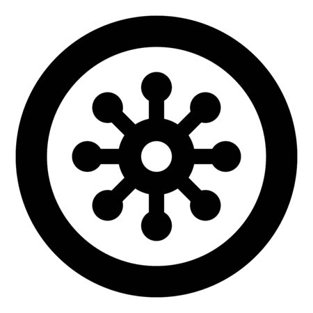 Virus Corona infaction Coronavirus COVID-19 Infection Virology icon in circle round black color vector illustration flat style simple image Ilustracja