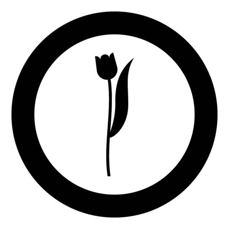 Flower tulip plant silhouette icon in circle round black color vector illustration flat style simple image