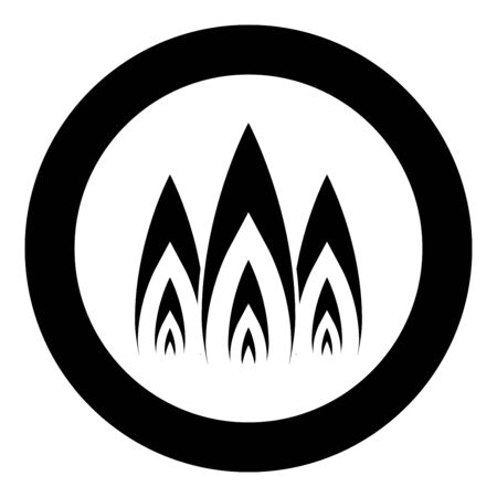 Three flame fire Burn bonfire 3 tongues icon in circle round black color vector illustration flat style simple image