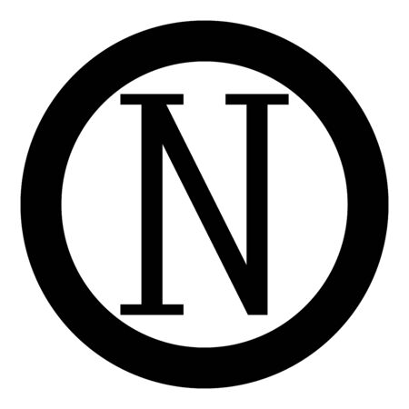 Nu greek symbol capital letter uppercase font icon in circle round black color vector illustration flat style simple image