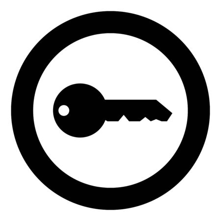 Key English classic type for door lock Concept private icon in circle round black color vector illustration flat style simple image