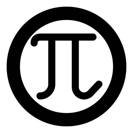 Pi greek symbol small letter lowercase font icon in circle round black color vector illustration flat style simple image Illustration