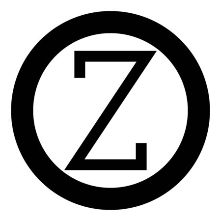 Zeta greek symbol capital letter uppercase font icon in circle round black color vector illustration flat style simple image