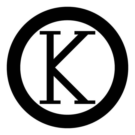 Kappa greek symbol capital letter uppercase font icon in circle round black color vector illustration flat style simple image