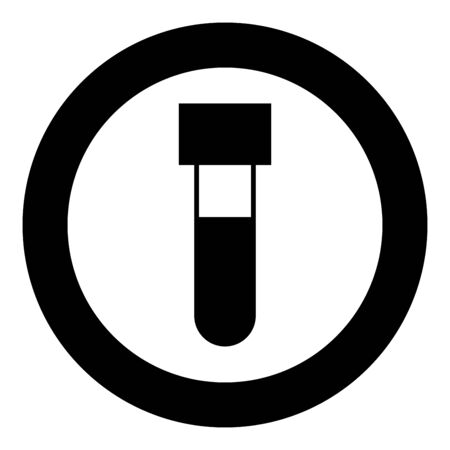 Test tube with blood Medical vial icon in circle round black color vector illustration flat style simple image Illusztráció