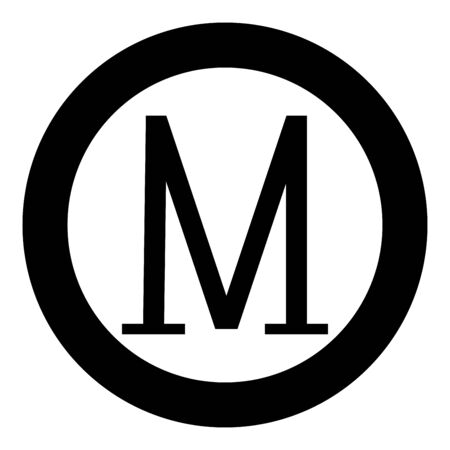 Mu greek symbol capital letter uppercase font icon in circle round black color vector illustration flat style simple image