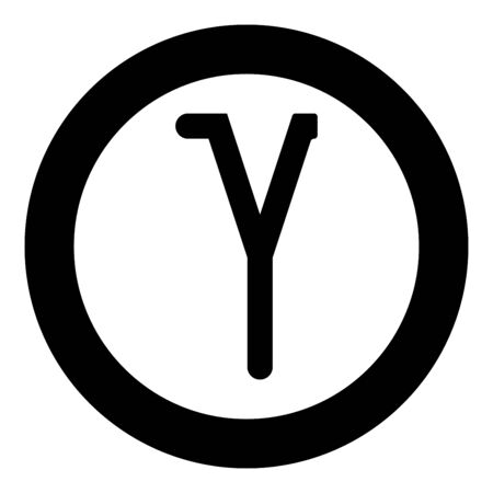 Gamma greek symbol small letter lowercase font icon in circle round black color vector illustration flat style simple image