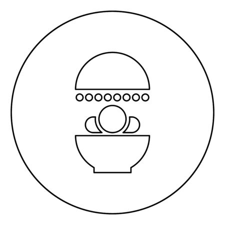 Solarium Human treatment exposure therapy Body CT scanning CAT Scan Radiotherapy icon in circle round outline black color vector illustration flat style simple image