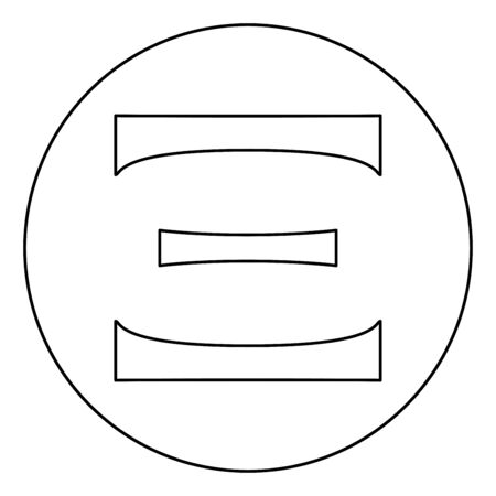 Ksi greek symbol capital letter uppercase font icon in circle round outline black color vector illustration flat style simple image Illustration
