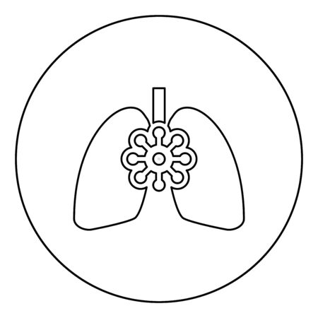 Coronavirus damaged lungs Virus corona atack Eating lung concept Covid 19 Infected tuberculosis icon in circle round outline black color vector illustration flat style simple image