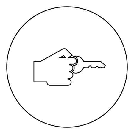 Hand holds key Concept opening Idea success Business access sign Unlock solution Passkey Rent Accessibility symbol icon in circle round outline black color vector illustration flat style simple image