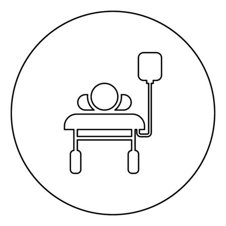 Patient lying on medical bed couch with dropper Man with dropping bottle Emergency therapy concept injecting resuscitation Intensive care icon in circle round outline black color vector illustration flat style simple image