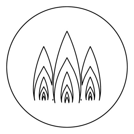 Three flame fire Burn bonfire 3 tongues icon in circle round outline black color vector illustration flat style simple image Illustration