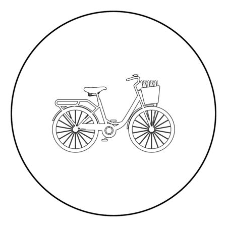 Bicycle with basket and flowers tulips icon in circle round outline black color vector illustration flat style simple image