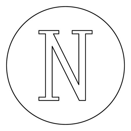 Nu greek symbol capital letter uppercase font icon in circle round outline black color vector illustration flat style simple image
