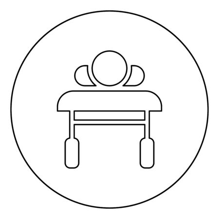 Patient lying on medical bed couch view from head Sick man Rehabilitation icon in circle round outline black color vector illustration flat style simple image