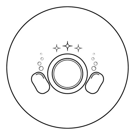 Dishwashing concept Clearing dishes Plate Washcloth Sponge Bubbles Clean kitchen idea icon in circle round outline black color vector illustration flat style simple image