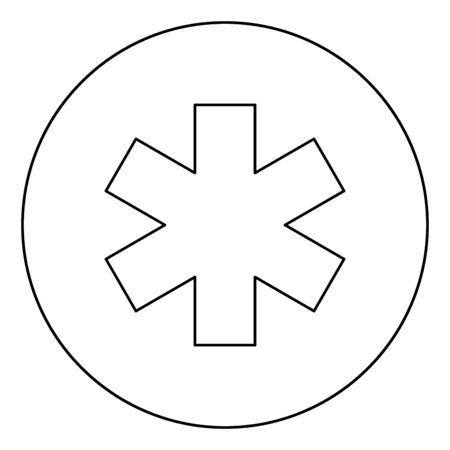 Medical symbol Emergency sign Star of life Service concept icon in circle round outline black color vector illustration flat style simple image Ilustração