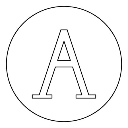 Alpha greek symbol capital letter uppercase font icon in circle round outline black color vector illustration flat style simple image Illustration