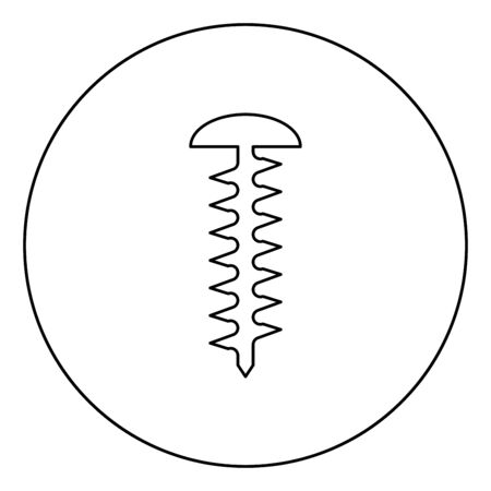 Round head screw Self-tapping Hardware Construction element icon in circle round outline black color vector illustration flat style simple image