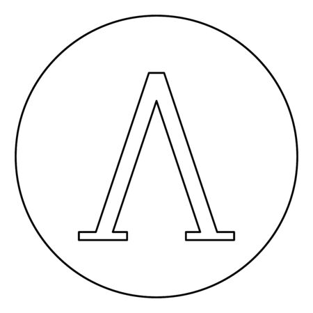 Lambda greek symbol capital letter uppercase font icon in circle round outline black color vector illustration flat style simple image Illustration