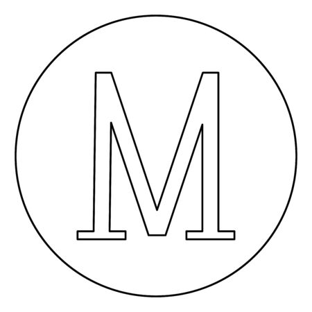 Mu greek symbol capital letter uppercase font icon in circle round outline black color vector illustration flat style simple image Illustration