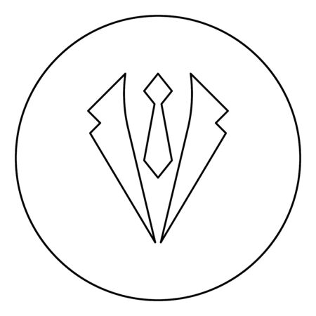 Business concept Jacket and tie cravat Suit for wedding Men's clothing in dress clothes Representative idea icon in circle round outline black color vector illustration flat style simple image Illustration