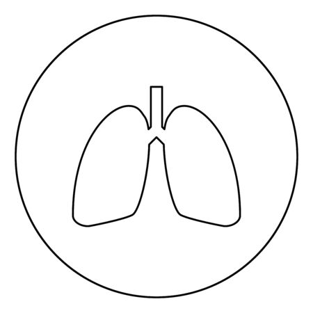 Lungs human icon in circle round outline black color vector illustration flat style simple image