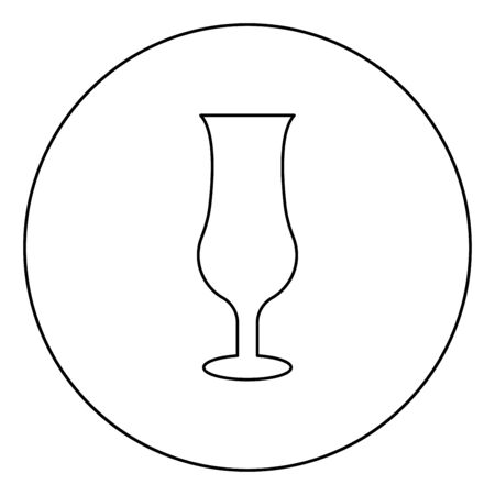 Cocktail glass icon in circle round outline black color vector illustration flat style simple image
