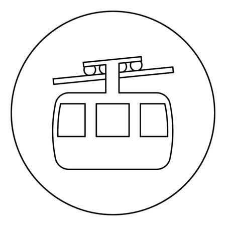 Funicular air way cable car Ski lift Mountain resort Aerial transportation tourism Ropeway Travel cabin icon in circle round outline black color vector illustration flat style simple image