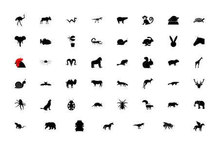 Wild animals black color set solid style vector illustration Ilustração