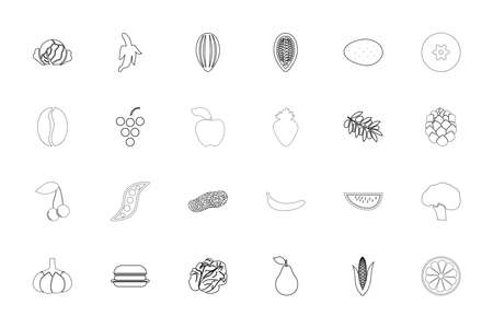 Food fruit vegetables black color set outline style vector illustration Ilustração