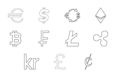 Money symbol black color set outline style vector illustration Ilustração