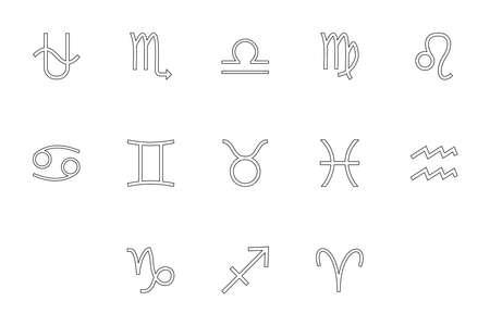 Zodiac symbol black color set outline style vector illustration