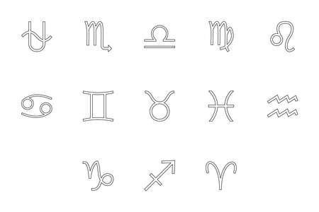 Zodiac symbol black color set outline style vector illustration