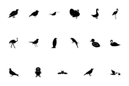Birds black color set solid style vector illustration Ilustração