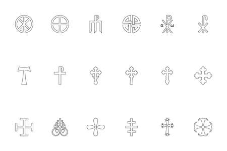 Religious cross black color set outline style vector illustration