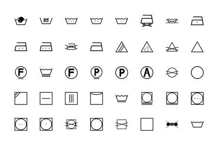 Wash sign Clothes care symbols black color set solid style vector illustration