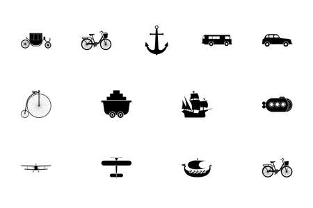 Vintage transport concept black color set solid style vector illustration
