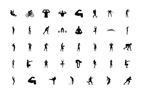 Silhouette people man sport concept black color set solid style vector illustration