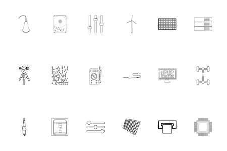 Industrial electronics black color set outline style vector illustration Ilustração