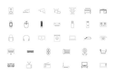 Consumer electronics black color set outline style vector illustration