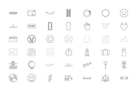 Web objects different black color set outline style vector illustration
